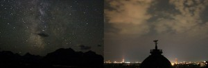 Light Pollution - The night sky as seen from a rural area compared to within a city.