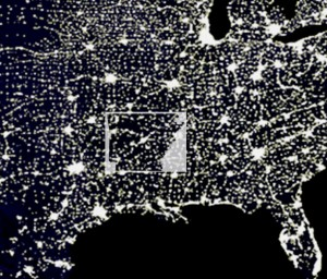 View of Arkansas at night.  Our major cities are easily seen from excess light they send into space.
