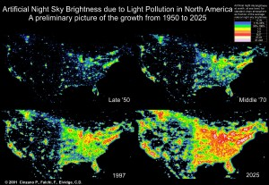 Light Pollution in the United States between 1950 and 2025.